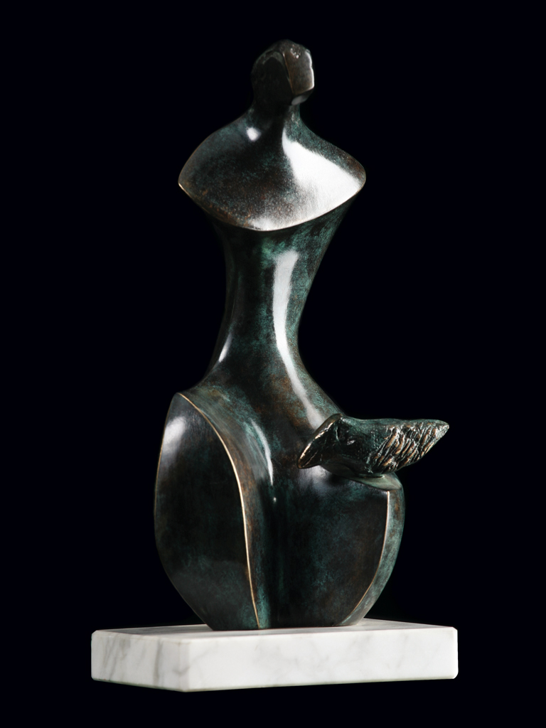 Dziewczyna z ptakiem (Girl with a bird) 2004 bronze H 24 cm